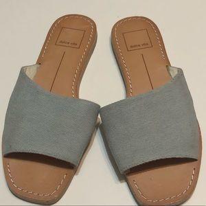 DOLCE VITA Blue Linen Slides Sandals Size 7.5